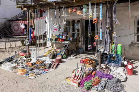 Khorog, Tajikistan August 25 2018: Goods exhibition of a hardware store on the market in Khorog, Tajikistan Editorial