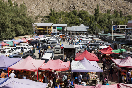 Khorog, Tajikistan August 25 2018: View of the Saturday market in Khorog, Tajikistan