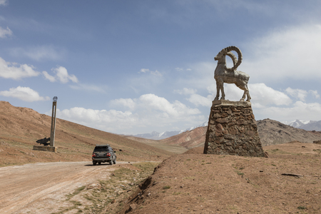 Kyzlyart, Kyrgyzstan August 21 2018: Kyzylart Pass (4280m) on The Pamir Highway at the border of Kygyzstan and Tajikistan in the Pamir mountains Editöryel