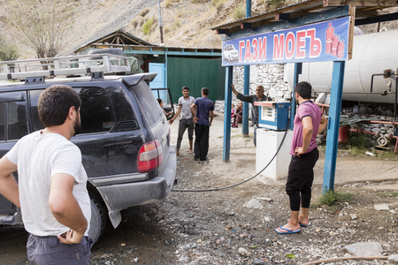 Khorog, Tajikistan August 25 2018: One of the few gas stations on the Pamir Highway, where the off road vehicles are fueled