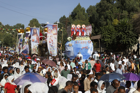 Gonder, Ethiopia, February 18 2015: Locals take part in the procession at the Timkat festival, the important Ethiopian Orthodox celebration of Epiphany Imagens - 120453758