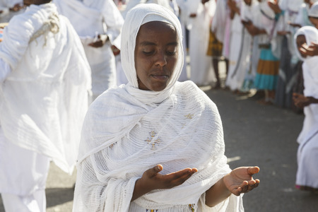 Gonder, Ethiopia, February 18 2015: People dressed in traditional attire celebrate the Timkat festival, the important Ethiopian Orthodox celebration of Epiphany Editorial