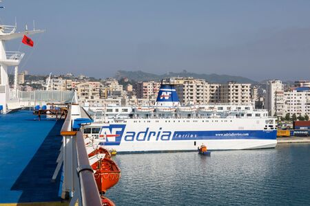 Durres, Albania, July 4 2019: Passenger ferry navigates in the port of Durres to the designated pier Editorial
