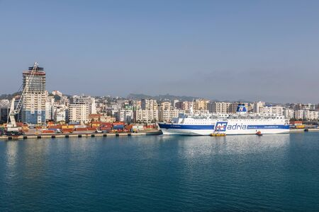 Durres, Albania, July 4 2019: Arrival in Durres Albania early in the morning after a 10 hour crossing from Bari Italy Editorial