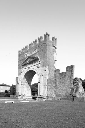 Arch of Augustus in Rimini. Famous destination in Rimini triumphal arch.