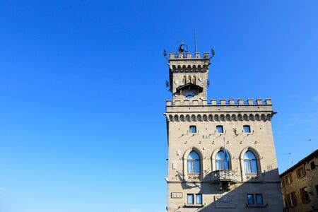 Palazzo Pubblico is the town hall of the City of San Marino, it is the official Government Building Banco de Imagens - 136527734