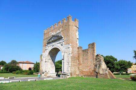 Rimini, Italy, July 2 2019: Arch of Augustus in Rimini. Famous destination in Rimini triumphal arch Editorial