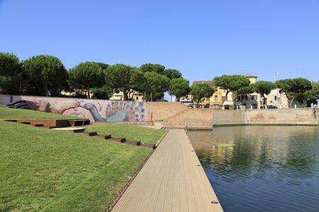 Rimini, Italy, July 2 2019: Plazza sull? ?? Acqua, Park at the Tiberius Bridge in Rimini