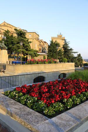 San Marino, San Marino Republic, July 1 2019: Park and viewpoint at the top station of the cable car in San Marino