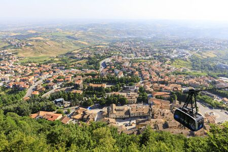 San Marino, San Marino Republic, July 1 2019: City Cable Car that connect to the fortress rock in San Marino Republic Editorial