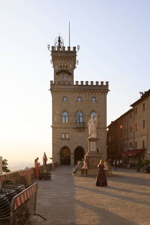 San Marino, San Marino Republic, July 1 2019: Palazzo Pubblico is the town hall of the City of San Marino, it is the official Government Building Editorial