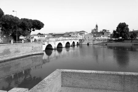 Rimini, Italy, July 2 2019: Bridge of Tiberius (Ponte di Tiberio) in Rimini, Italy