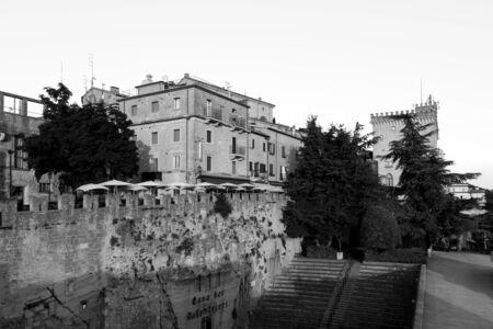 San Marino, San Marino Republic, July 1 2019: View of the old town of San Marino with the city walls Editorial