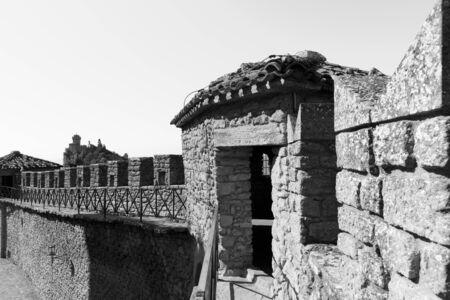 Guaita Castle in San Marino. Exterior wall of Rocca della Guaita castle.
