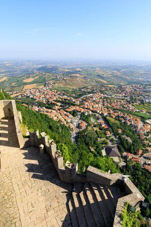 Guaita Castle in San Marino. Exterior of Rocca della Guaita castle. View to the lower part of San Marino Editorial