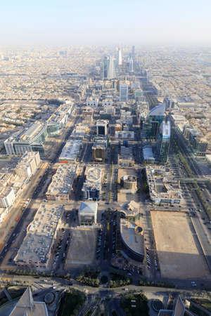 Riyadh, Saudi Arabia, February 14 2020: Aerial view of Riyadh downtown in Saudi Arabia. Photos were taken from the Skybridge in the Kingdom Tower