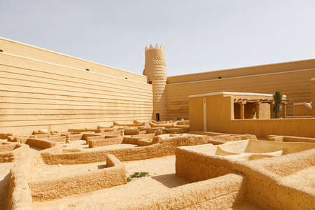 Historical Fort in Raghba in Saudi Arabia. The fort is currently undergoing extensive restoration
