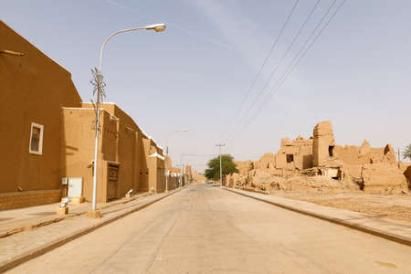Street with dilapidated mud houses in Shaqra in Saudi Arabia, which are still waiting to be renovated