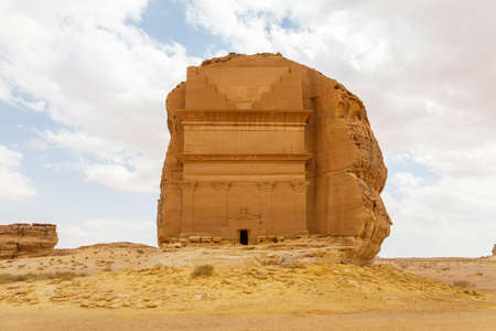 Tomb of Lihyan son of Kuza, known as Qasr AlFarid, the most iconic tomb in AlUla in the region of Mada'in Saleh, Saudi Arabia