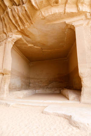 Rock-cut hall in the Siq of Jabal Ithlib in Al Ula, KSA