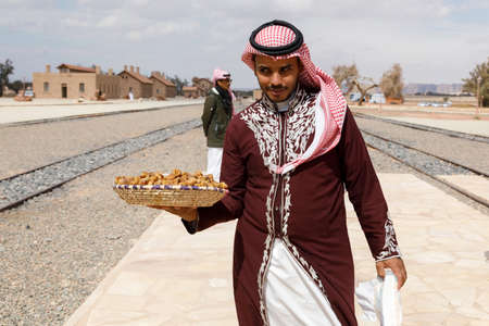Al Ula, Saudi Arabia, February 19, 2020: At the Hejaz Railway Station in Al Ula, tourists are welcomed with Saudi Arabian hospitality before the guided tours to the tombs of Hegra start Redakční