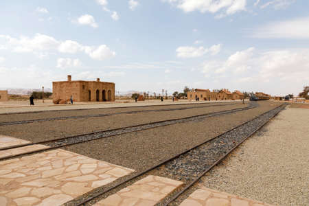 Al Ula, Saudi Arabia, February 19, 2020: Restored Hejaz railway train built for by the Ottoman Empire that was exploded by TE Lawrence during World War I. The guided tours to the tombs of Hegra start from here