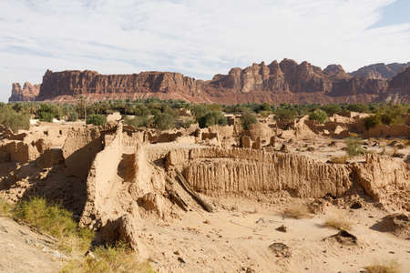 Abandoned houses in the traditional construction of Arabic adobe architecture in Al Ula in Saudi Arabia