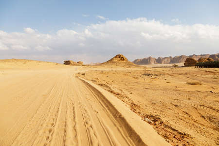 Sand road in the area of Al Ula in Saudi Arabia