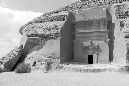 Jabal Al Banat, one of the largest clusters of tombs in Hegra with 29 tombs that have skillfully carved facades on all sides of the sandstone rock, Al Ula, Saudi Arabia