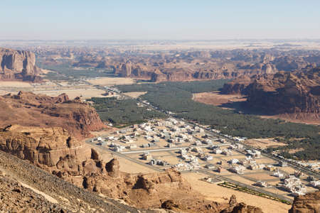 View towards Al Ula, an oasis in the middle of the mountainous landscape of Saudi Arabia