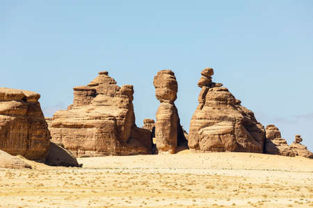 Typical landscape with eroded mountains in the desert oasis of Al Ula in Saudi Arabia