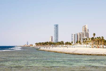 Skyline on the Corniche, promenade on the shores of the Red Sea in downtown Jeddah, Saudi Arabia