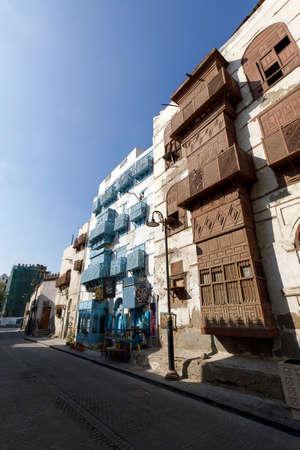 Jeddah, Saudi Arabia, February 22 2020: Old town of Jeddah with th historic wooden balconies in the Al Balad district, Saudi Arabia 新闻类图片