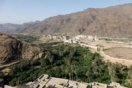 View from the Thee-Ain heritage site in Al-Baha, Saudi Arabia towards the village of the same name