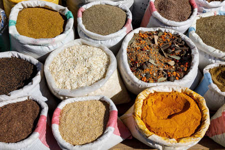Close-up of spices being sold in a market in Abha, Saudi Arabia