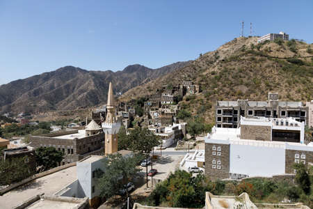 Panorama of beautiful historical houses and mosque minaret in Rijal Almaa heritage village in Saudi Arabia