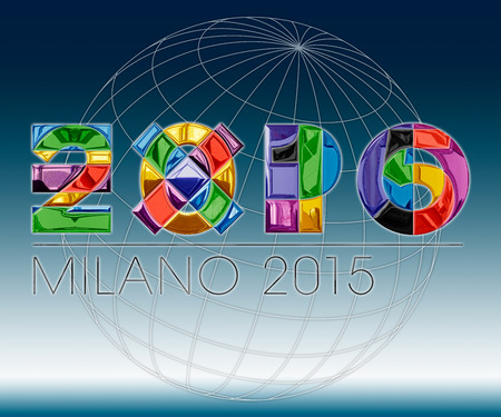 expo 2015 logo elaboration 免版税图像