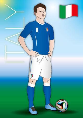 futbol: italian player with uniform Illustration