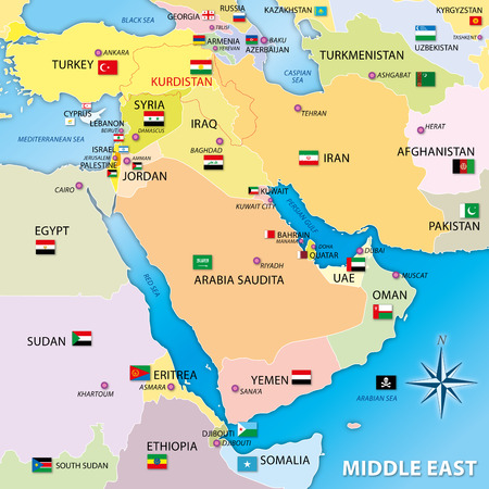 flag of pakistan: middle east map with flags