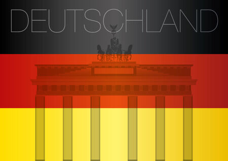 brandenburg gate: brandenburg gate with germany flag Illustration