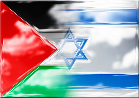 david and goliath: israel and palestine flags fusion