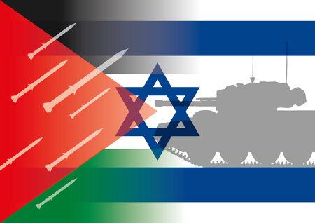 david and goliath: israel palestine flags