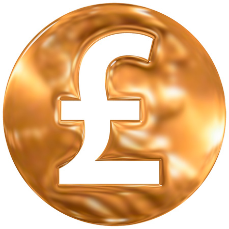 currency symbol: british pound sterling currency symbol, united kingdom, gold finishing Stock Photo