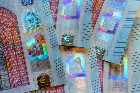 banconote euro: ? 20 banconote dettagli di sicurezza Archivio Fotografico