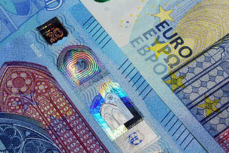 twenty: twenty euro banknote security details