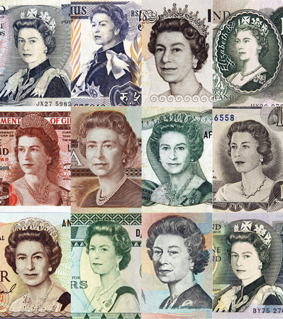 queen elizabeth: queen elizabeth portraits on banknotes, engravings Stock Photo