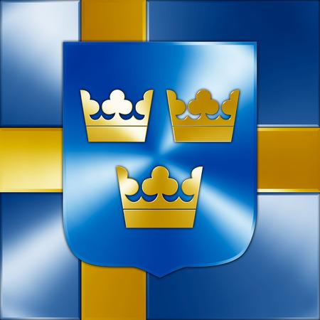 elaboration: swedish coat of arms graphic elaboration Stock Photo
