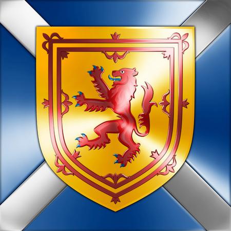 elaboration: scottish coat of arms, graphic elaboration Stock Photo