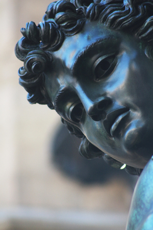 tuscan: Head of Perseus, Benvenuto Cellini, Florence, Italy, detail Stock Photo