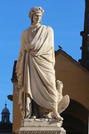 dante alighieri: Dante Alighieri monument, square Santa Croce, Florence, Italy